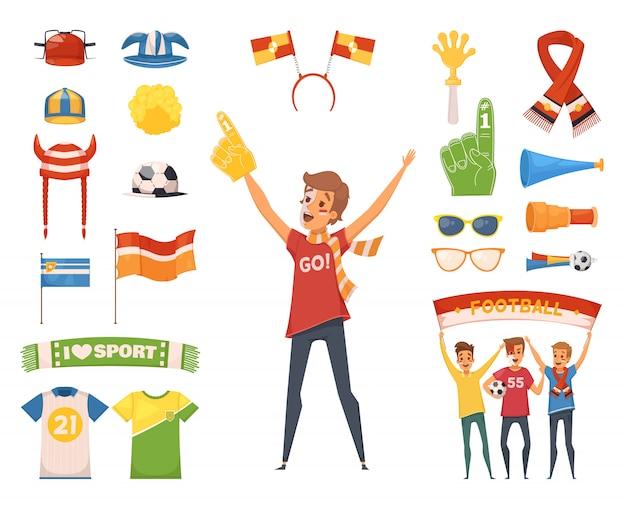 Des accessoires colorés et isolés pour les personnages masculins avec des outils pour encourager votre équipe favorite