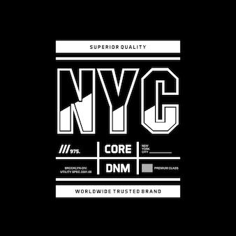 Accessoires de conception de typographie de nyc pour le vecteur premium de tshirt