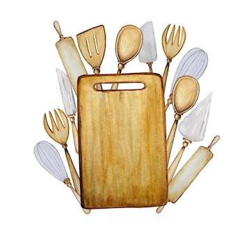 Accessoires de cuisine en bois dessinés à la main mis illustration aquarelle.