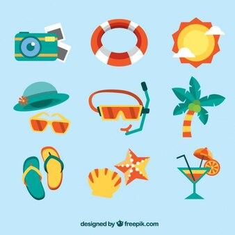 Accessoires d'été et les éléments de design plat