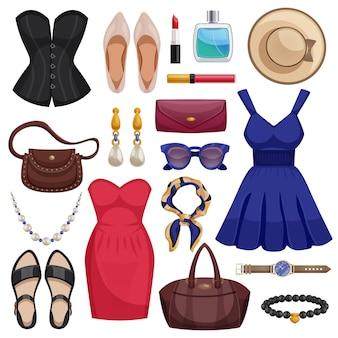 Accessoires femme icon set