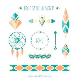Accessoires géométriques dans le style boho et design plat