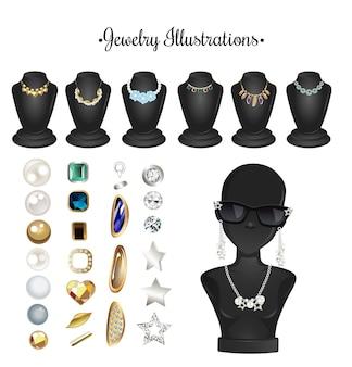 Accessoires d'illustrations de bijoux