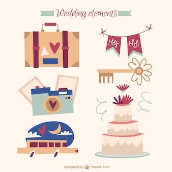 Accessoires de mariage millésime dessinés à la main