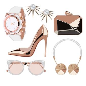 Accessoires de mode rose d'or