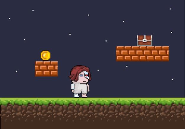 Accessoires et personnages de fond de jeu de pixels vecteur eps 10