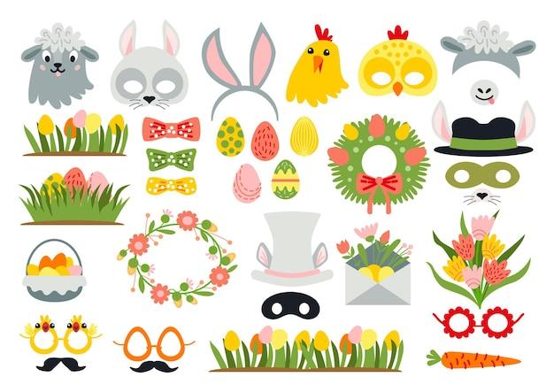 Accessoires de photomaton de pâques mignons comme ensemble d'éléments graphiques de fête