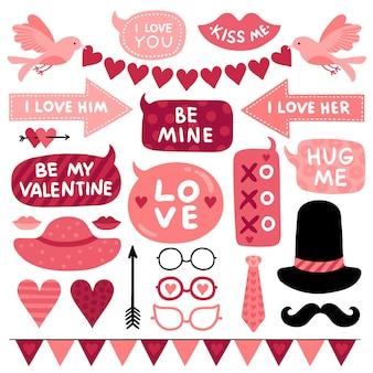 Accessoires de photomaton saint valentin.