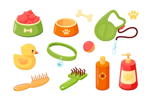 Accessoires pour chiens avec bols de collier shampooing et laisse trucs pour chiots pour le toilettage, l'alimentation et le gibier