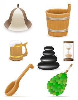 Accessoires pour illustration vectorielle de bain de vapeur ou sauna