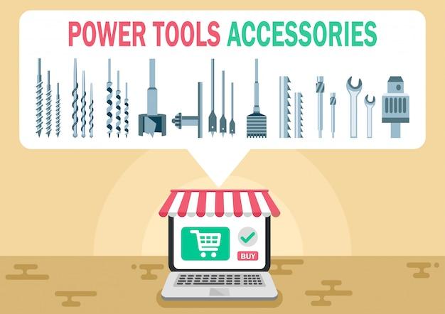 Accessoires pour outils électriques shop bannière web plat vector
