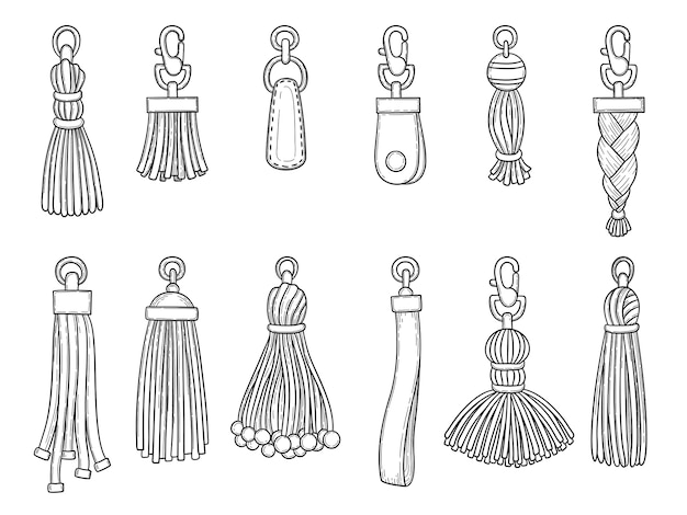 Accessoires de sacs à main. technicien en cuir textile noeud bibelot fils articles de mode illustrations vectorielles. pendentif accessoire en cuir isolé main dessiner