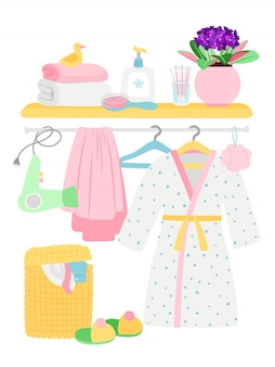 Accessoires de salle de bain, articles d'hygiène, peignoir, illustration de panier à linge