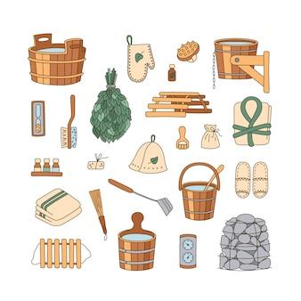 Accessoires de sauna - laveuse, balai, baignoire, seau, serviette et autres. accessoires de bain en bois.