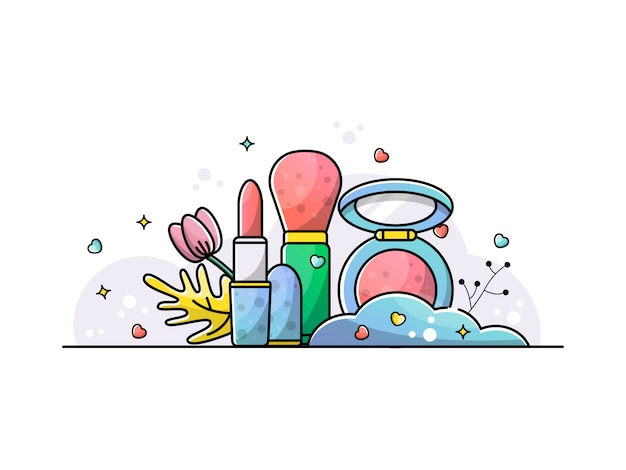 Accessoires set maquillage illustration