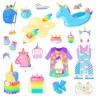 Accessoires ou vêtements pour enfants de dessin animé de licorne dans un cheval de jeune fille avec un style de corne et un ensemble d'illustration de queue de cheval coloré de sacs d'animaux à queue de cheval pour enfant fantastique ou sur fond blanc