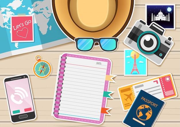 Accessoires voyage autour du monde concept.