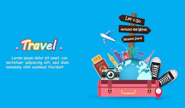 Accessoires de voyage bagages à travers le monde.