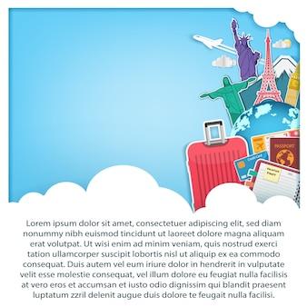 Accessoires de voyage sur bleu