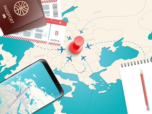 Accessoires de voyage. concept de vacances