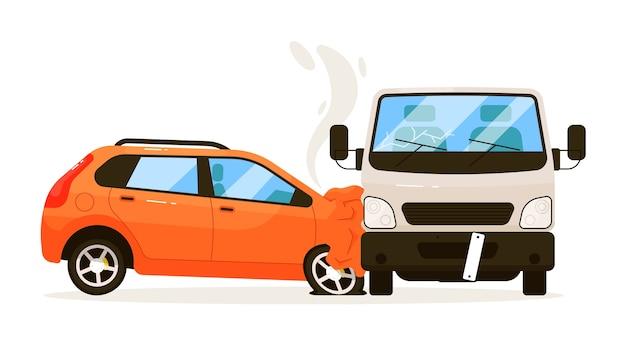 Accident de la route. voiture heurté par camion fourgon d'expédition isolé sur fond blanc. collision de la circulation avec blessure automobile après impact avec illustration de transport