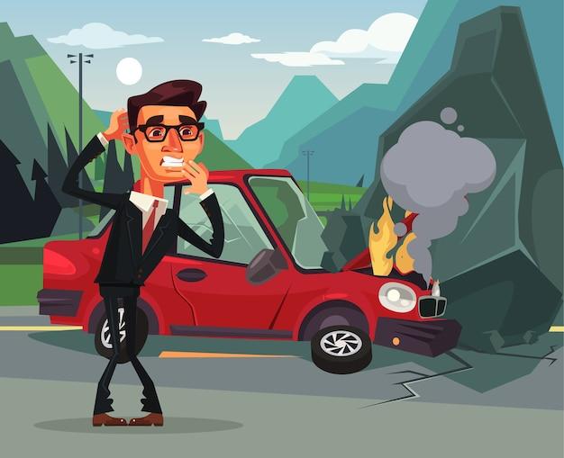Accident de voiture en colère pleurer effrayer la victime homme d'affaires bureau travailleur personnage illustration