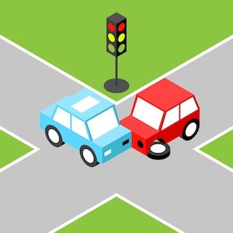 Accident de voiture isométrique