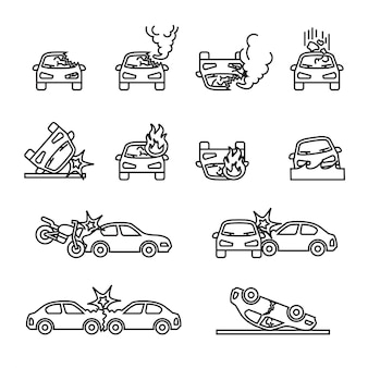 Accident de voiture, jeu d'icônes vectorielles liées aux accidents de voiture.
