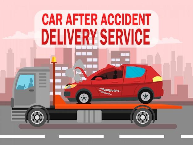 Accident de voiture, modèle de bannière web pour le service de livraison