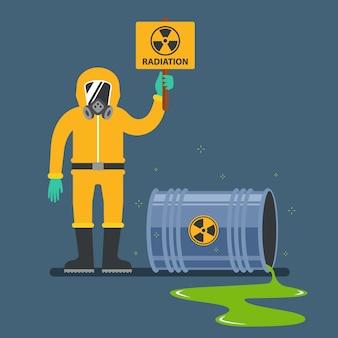 Accidents avec déchets nucléaires. homme en tenue de protection tenant une pancarte de rayonnement. plat.