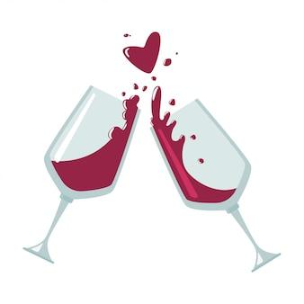 Acclamations icône plate verres de vin isolé sur fond blanc.