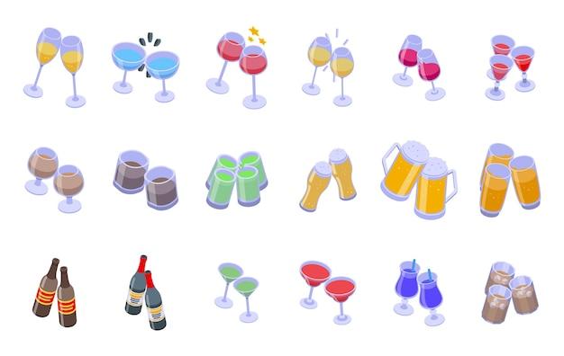 Acclamations d'icônes définies. ensemble isométrique d'icônes de cheers pour le web isolé sur fond blanc