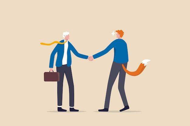 Accord commercial de malhonnêteté, fraude ou arnaque, menteur pour profiter du concept de partenaire, de triche ou de chasse aux victimes d'affaires, homme d'affaires se serrant la main avec l'un en tant que victime de mouton et l'autre en tant que loup chasseur.