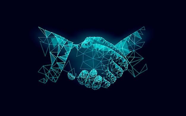 Accord commercial de poignée de main à deux mains.