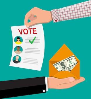 Accord entre les électeurs et les politiciens. bulletin de vote et enveloppe avec de l'argent. vente de vote pour l'élection. affaire de fraudes électorales. pots-de-vin et corruption dans les élections. illustration vectorielle dans un style plat