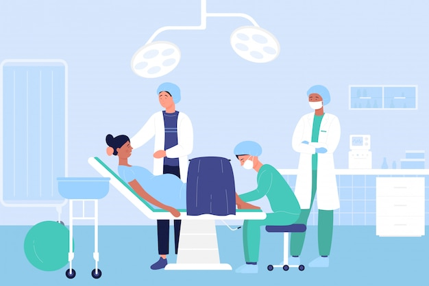 Accouchement dans l'illustration de l'hôpital, personnages de médecin de dessin animé examinant une patiente enceinte avant le fond de naissance de bébé