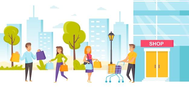 Accro du shopping ou consommateurs avec des sacs à provisions et des chariots à l'extérieur du magasin d'usine