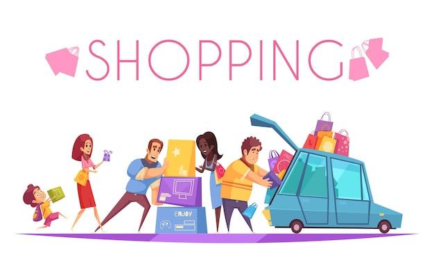Accro du shopping avec texte et vue de personnages de dessins animés mettant des boîtes colorées dans la voiture