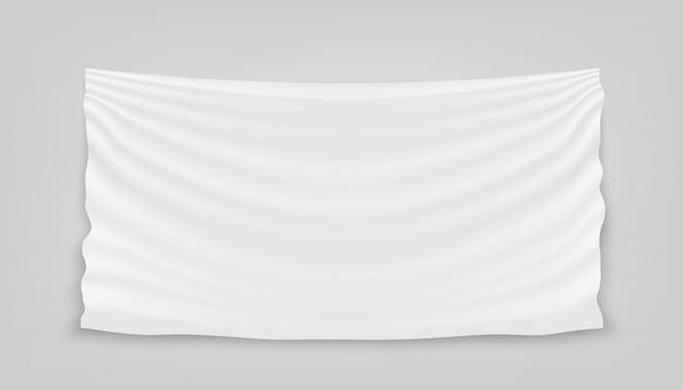 Accrocher la bannière de textile tissu tissu blanc vide.