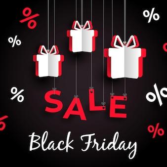 Accrocher des cadeaux vendredi noir dans un style papier