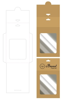 Accrocher l'enveloppe die cut mock up template vector