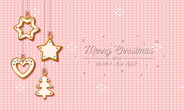 Accrocher le pain d'épice de noël sur fond rose tricoté. biscuits festifs en forme de maison et arbre de noël, étoile et flocon de neige et coeur pour carte de voeux de vacances. illustration vectorielle