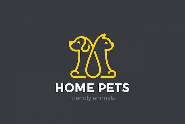 Accueil animaux logo icône.