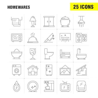 Accueil articles ligne icons set pour infographie, kit mobile ux / ui