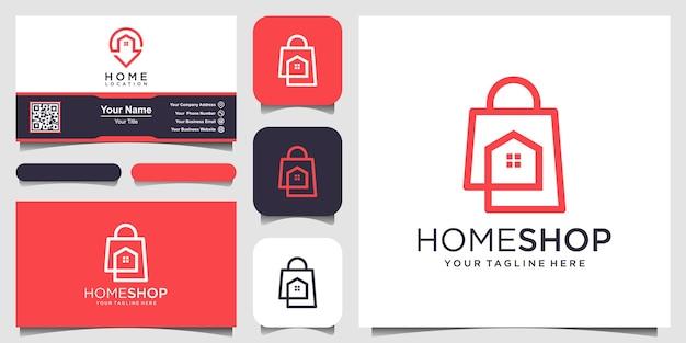 Accueil boutique modèles de logo modèle, sac combiné avec maison.