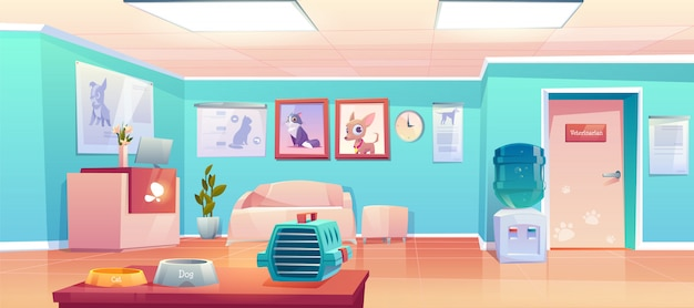 Accueil clinique vétérinaire. salle vide vétérinaire