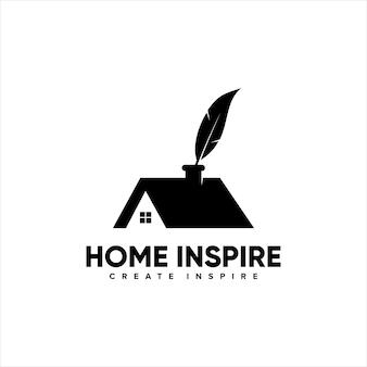 Accueil maison inspirer conception de logo dencre de plume