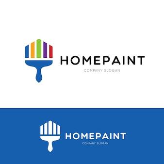 Accueil modèle de logo de peinture, concept de conception de logo de brosse, illustration vectorielle