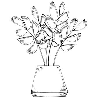 Accueil plante en pots croquis. dessin de contour illustration isolée de la croissance des fleurs dans une plante suspendue pour la décoration intérieure de la maison ou du bureau. de fleurs de jardin.