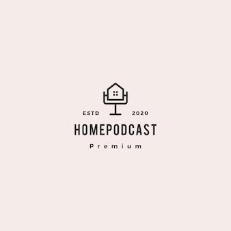 Accueil podcast logo icône vintage rétro hipster pour canal hypothèque maison vidéo vidéo vlog examen